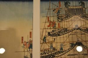 城郭の浮世絵展-真柴久吉公播州姫路城郭築之図 その二